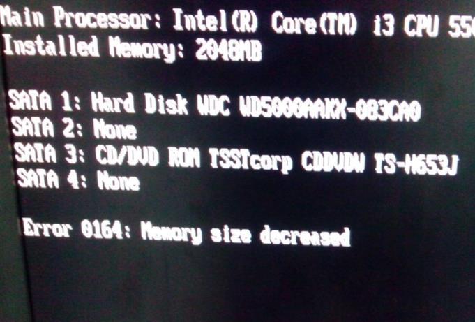 "电脑开机出现""Error 0164:memory size decreased""的解决方法"